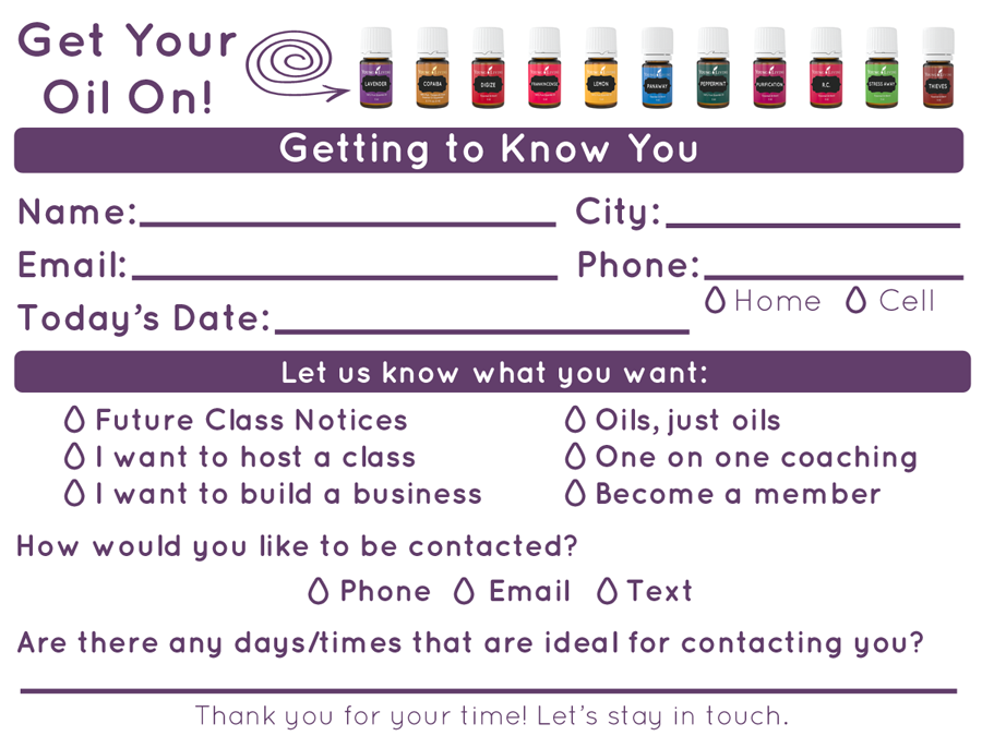 Class Contact Cards: Get Your Oil On | The Oil Posse