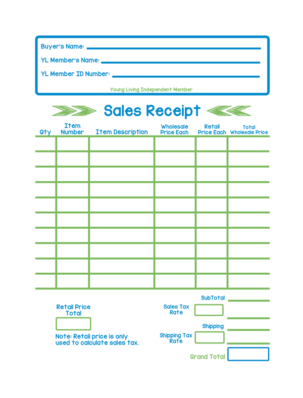 yl sales receipt | the oil posse, Invoice templates
