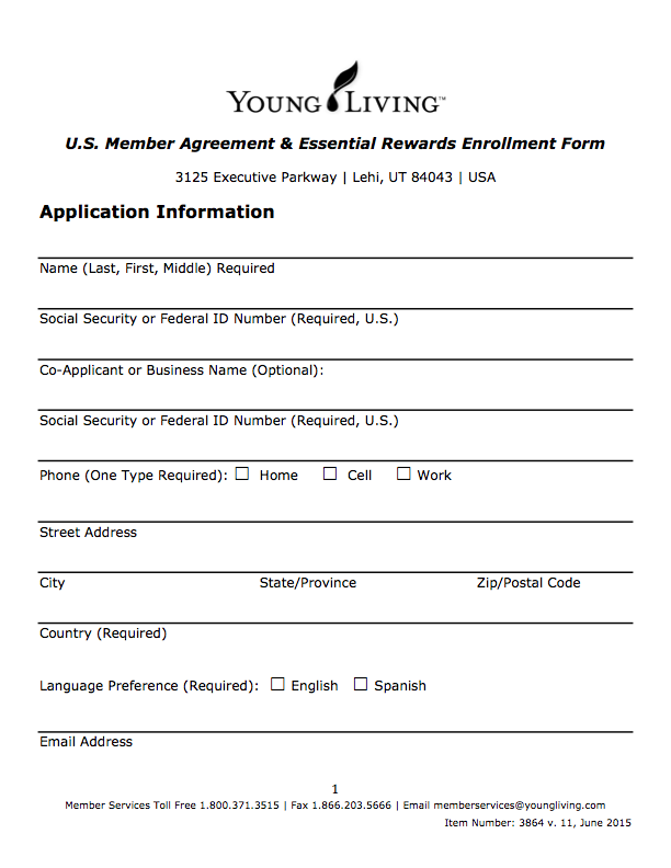 YL Member Agreement Form: Enlarged