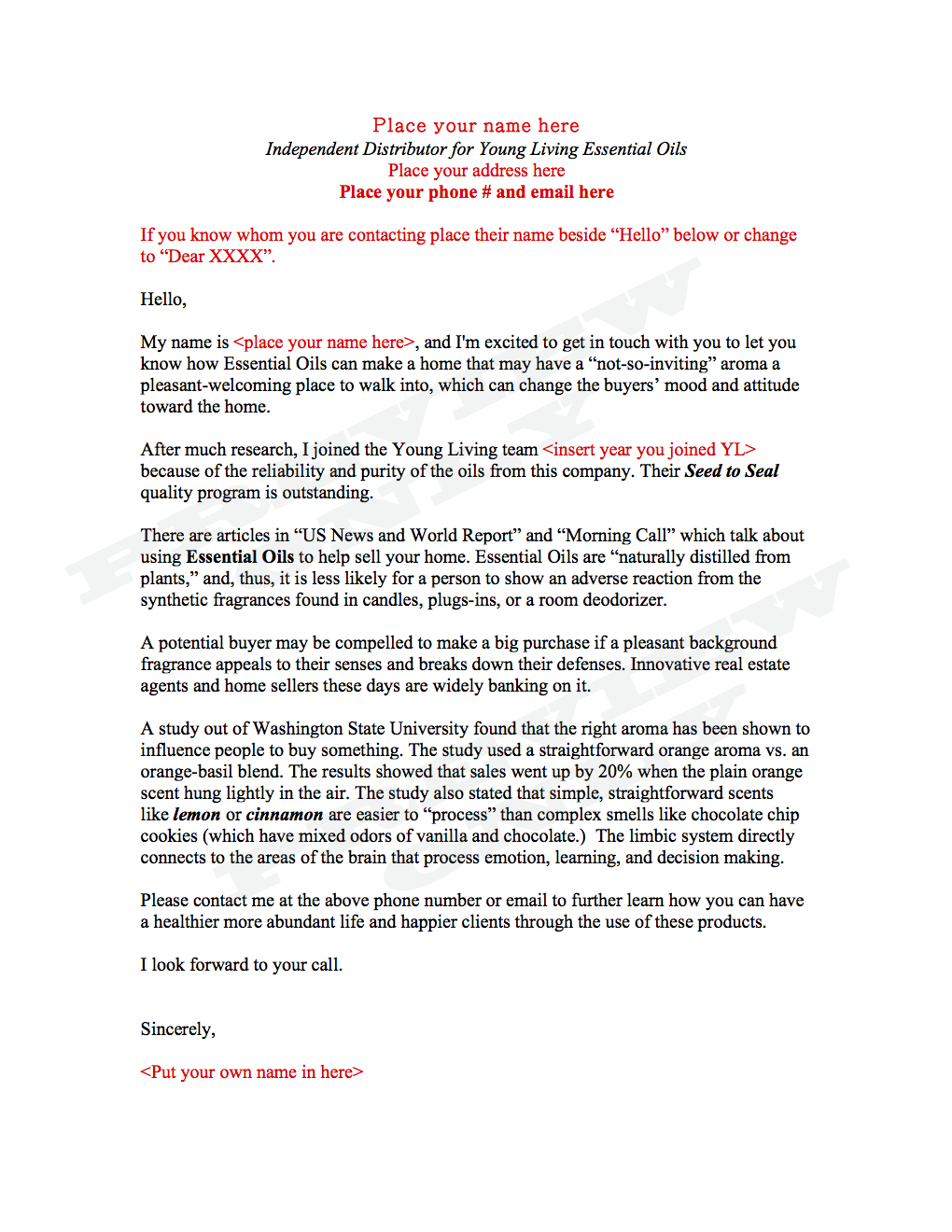 Real Estate Agent: Greeting Letter | The Oil Posse